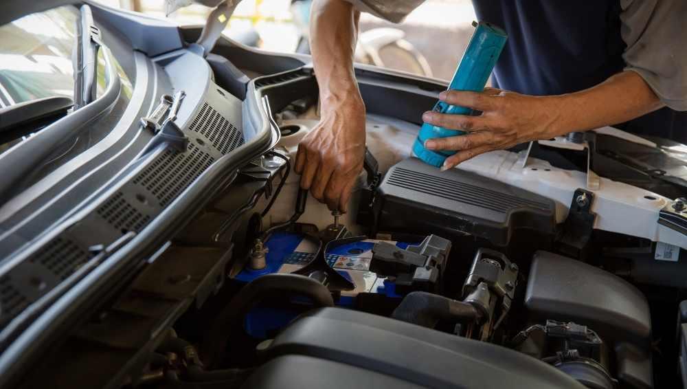 Examine a diagram of a car engine